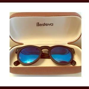 Illesteva Sunglasses. Matte Black/Blue Mirror Lens